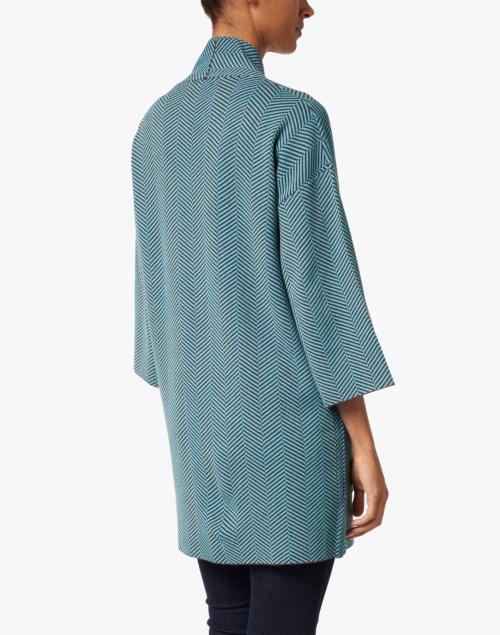 J'Envie - Lake Blue and Chestnut Chevron Knit Coat