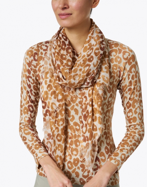 Pashma - Beige and Brown Animal Printed Silk Cashmere Scarf