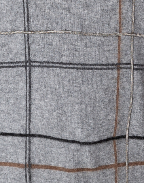 Fabiana Filippi - Grey, Camel and Charcoal Check Wool and Silk Sweater