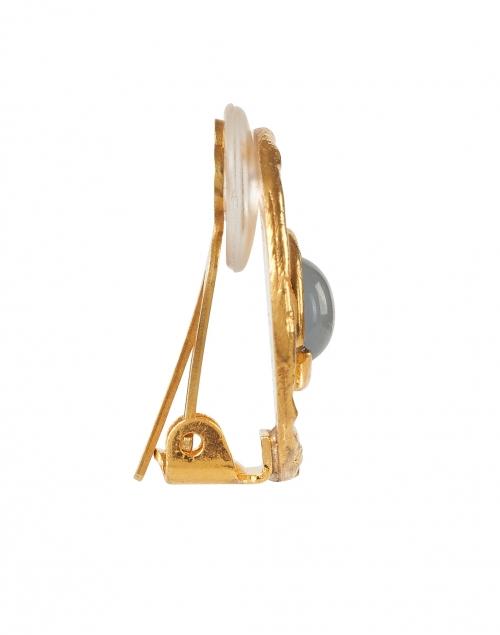 Sylvia Toledano - Chalcedony Blue Medallion Gold Stud Earrings