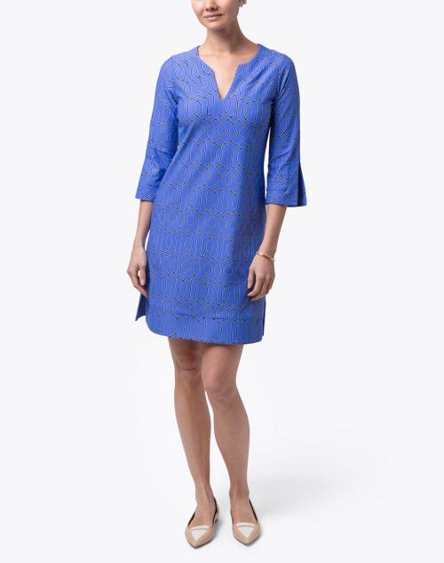 Jude Connally - Megan Blue Geometric Print Dress