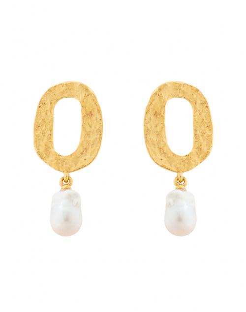 Oscar de la Renta Gold Hammered Hoop with Pearl Earring