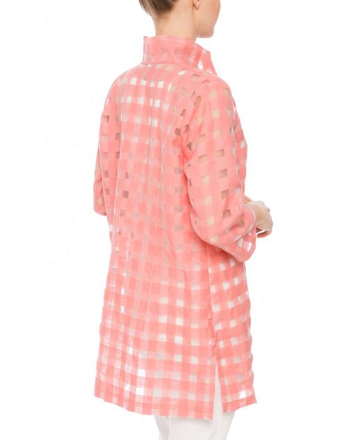 Connie Roberson - Rita Salmon Pink Sheer Plaid Shirt
