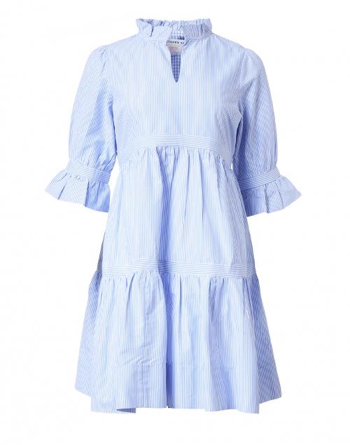 Gretchen Scott - Teardrop Blue and White Striped Cotton Dress