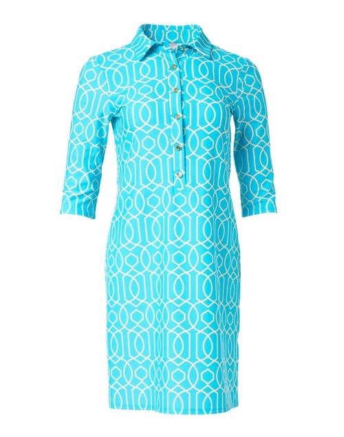Jude Connally - Susanna Aqua Garden Gate Printed Henley Dress