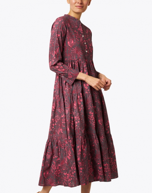 Ro's Garden - Burgundy Floral Cotton Dress