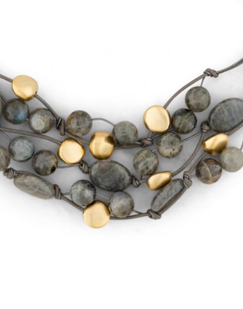 Deborah Grivas - Grey Labradorite and Gold Necklace