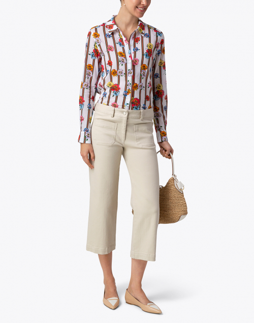 Ecru - Streep Floral and Striped Cotton Shirt