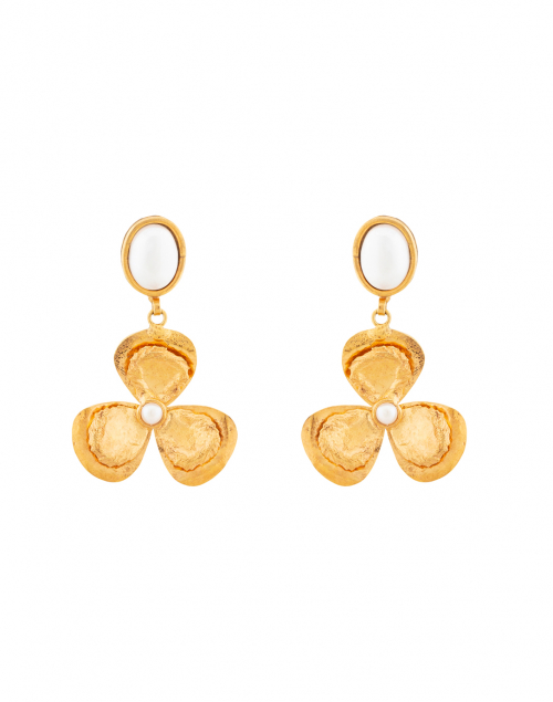Sylvia Toledano Lucky Flower Pearl and Gold Drop Earring