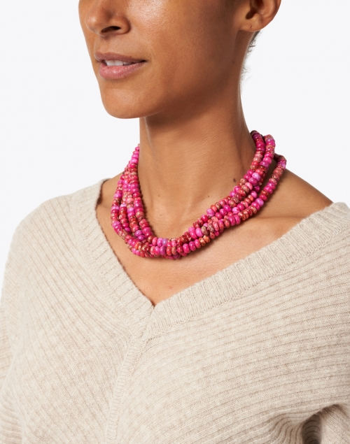 Nest - Magenta Agate Multistrand Necklace