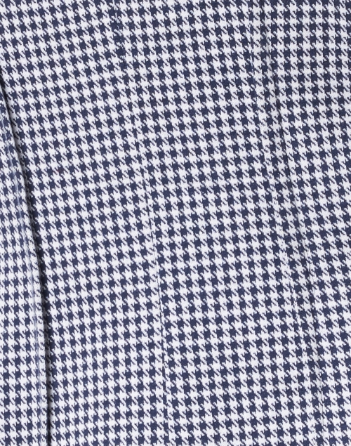 Ecru - Navy and White Dotted Check Stretch Cotton Jacket