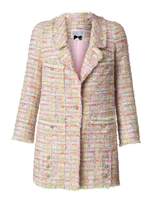 Edward Achour Pale Pink Multicolor Tweed Long Jacket