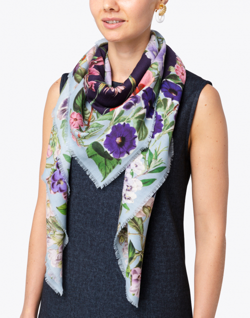 St. Piece - Kimberley Pale Blue Floral Wool Cashmere Scarf