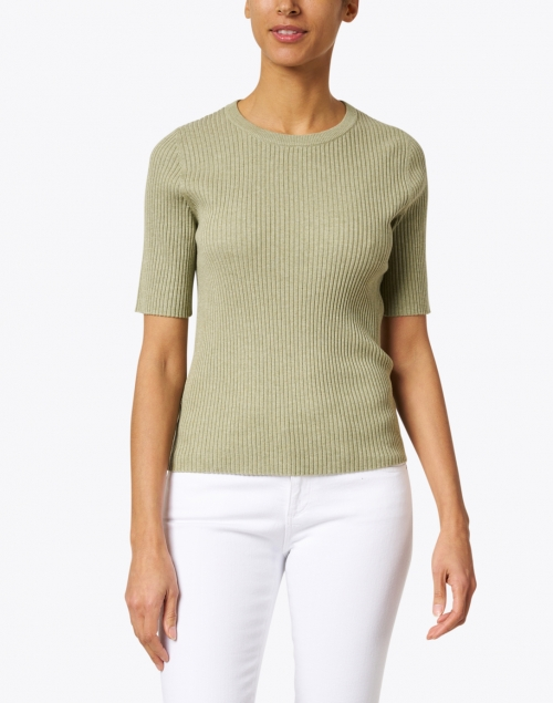 Repeat Cashmere - Green Ribbed Cotton Sweater