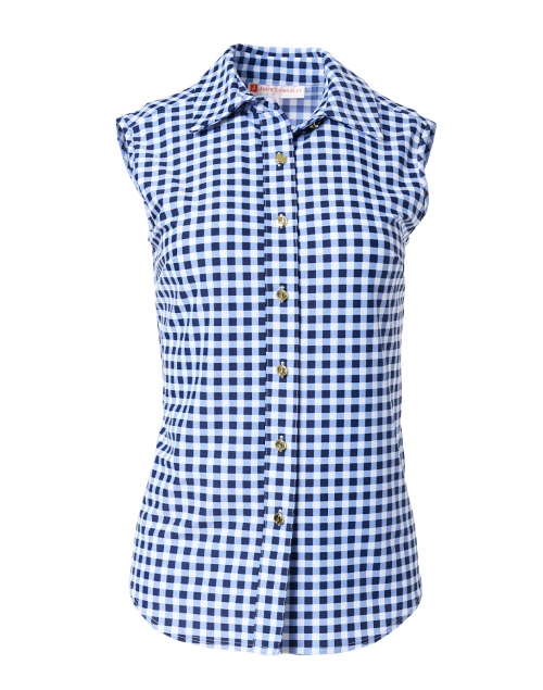 Jude Connally Kim Navy Gingham Button Down Stretch Top