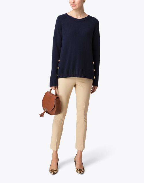 Sail to Sable - Navy Wool Sweater with Gold Buttons