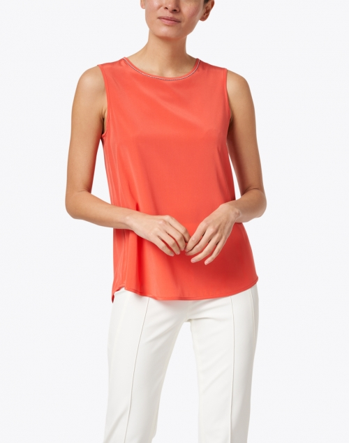 Peserico - Coral Stretch Silk Top with Brilliant Detail