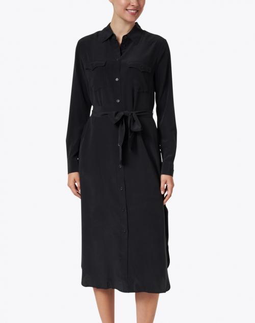 BOSS Hugo Boss - Dicallura Black Silk Shirt Dress