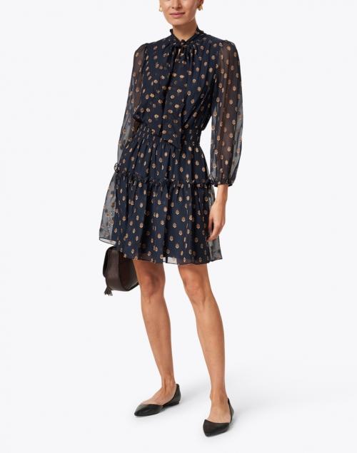 Shoshanna - Dane Navy and Bronze Dot Print Sheer Dress