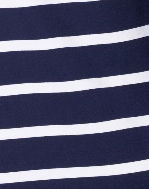 Sail to Sable - Navy Blue and White Stripe Stretch Ponte Dress