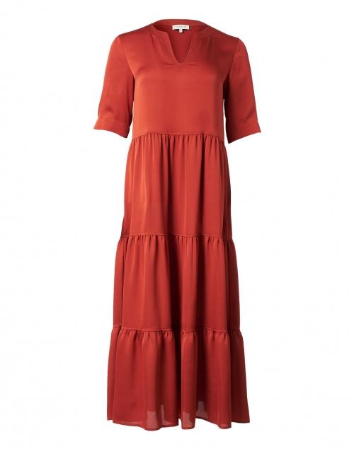 Lafayette 148 New York Selma Chili Red Tiered Satin Dress