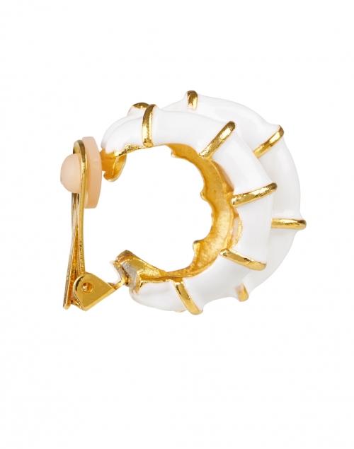 Kenneth Jay Lane - White Ribbed Enamel Hoop Clip Earring