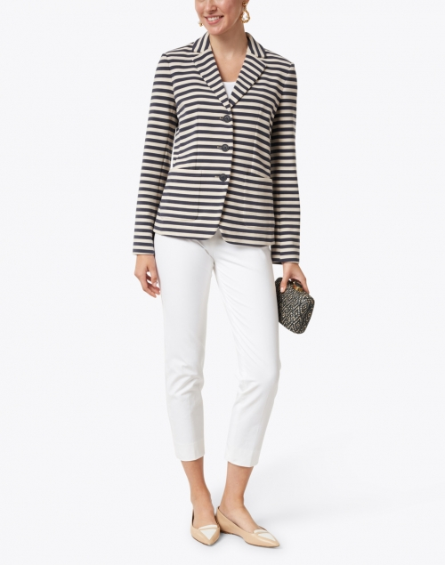Weekend Max Mara - Panay Navy and White Striped Stretch Cotton Blazer