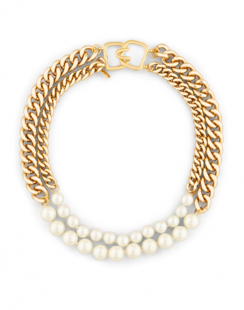 Kenneth Jay Lane - Gold Chain and Pearl Two Row Necklace