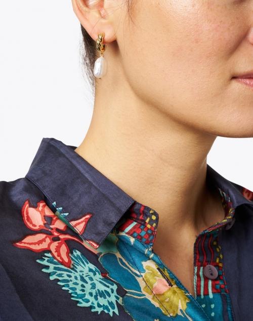 Mignonne Gavigan - Mira Gold and Pearl Huggie Hoop Earrings