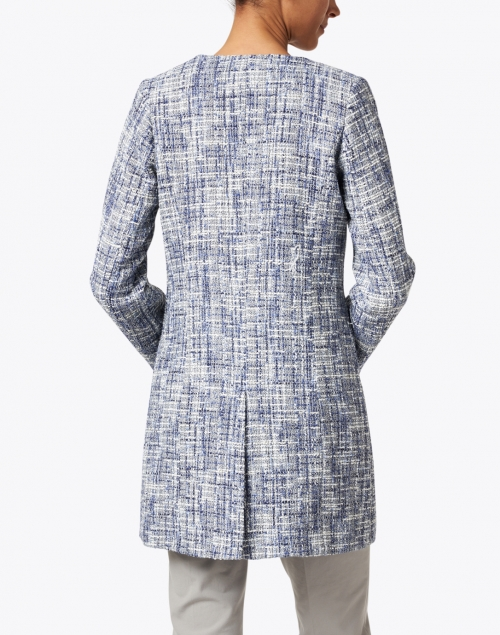 Helene Berman - Edge to Edge Blue and White Tweed Jacket