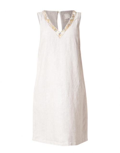 120% Lino - Natural Embellished Linen Dress
