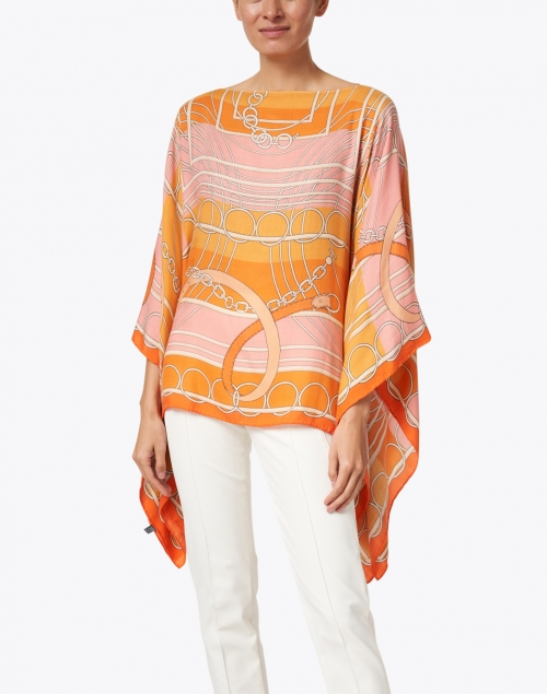 Rani Arabella - Orange Silk Cashmere Saddle Print Poncho