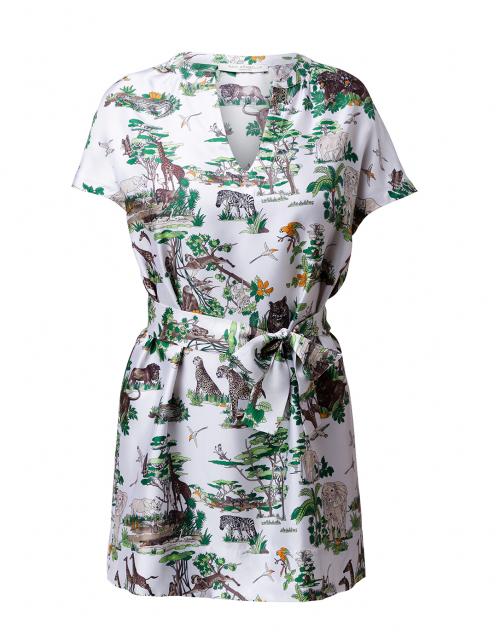 Rani Arabella White and Green Safari Print Silk Tunic