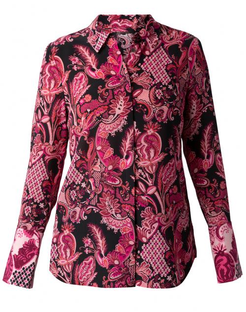 Kobi Halperin - Lindy Pink Paisley Crepe Button Down Blouse