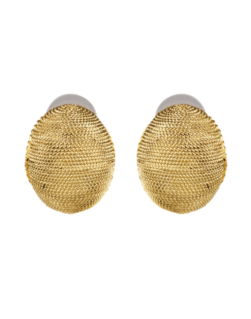 Oscar de la Renta Gold Textured Round Clip Earring