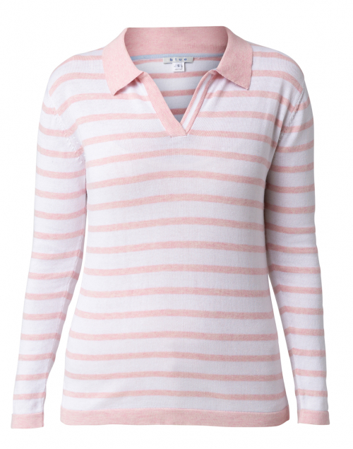 Blue - Pink and White Striped Pima Cotton Polo Sweater