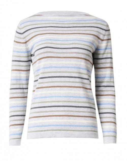 Blue - Light Grey Multi Striped Pima Cotton Sweater