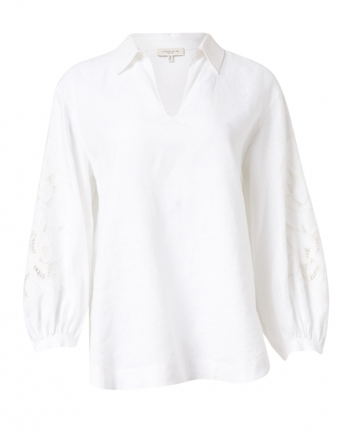 Lafayette 148 New York - Parker White Linen Embroidered Blouse