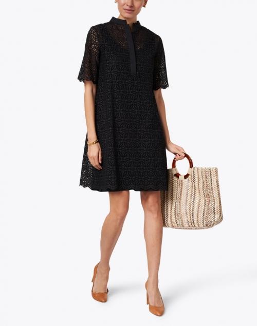 Piazza Sempione - Black Lace Eyelet Cotton Dress