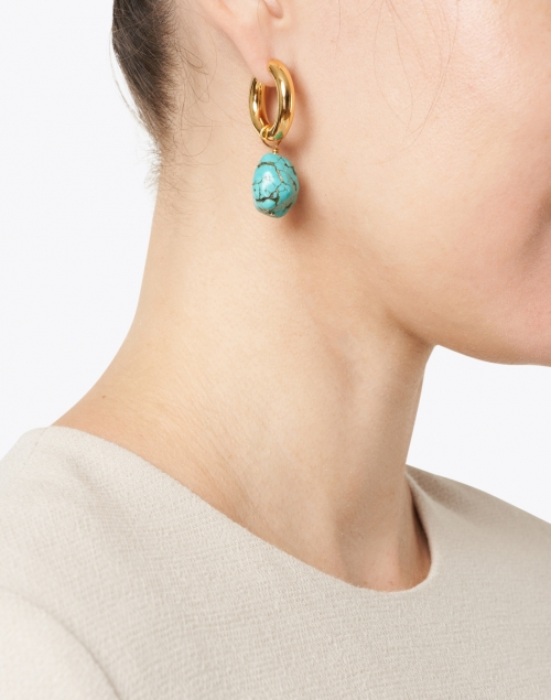 Nest - Gold Huggie Hoop and Turquoise Stone Earrings