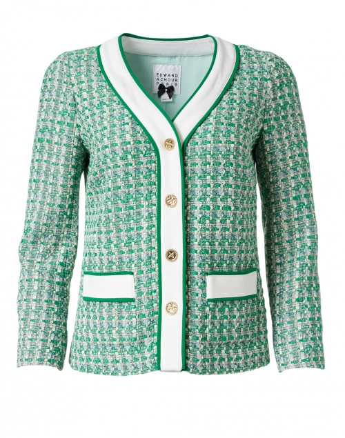 Edward Achour Green and White Tweed Button Down Jacket