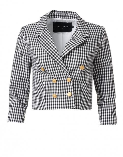 Tara Jarmon Vigo Black and White Check Stretch Cotton Jacket