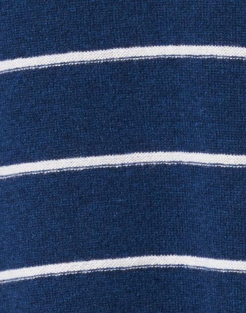 Kinross - Navy and White Stripe Cashmere Sweater