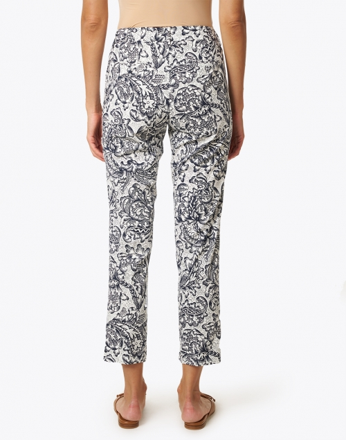 Weekend Max Mara - Esule Black and White Floral Print Stretch Cotton Pant