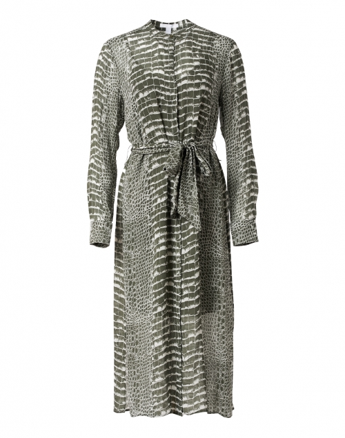 BOSS Hugo Boss Khaki Green and White Crocodile Printed Dress