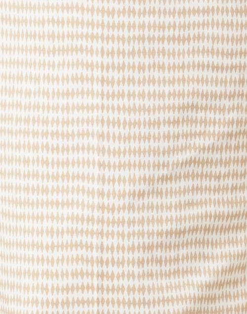 Piazza Sempione - White and Beige Mini Ikat Print Stretch Cotton Pant