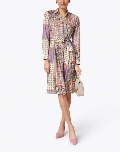 Caliban - Pink Paisley Mosaic Printed Silk Shirt Dress