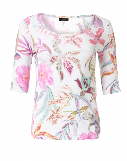 Marc Cain White and Multi Floral Print Stretch Cotton Top