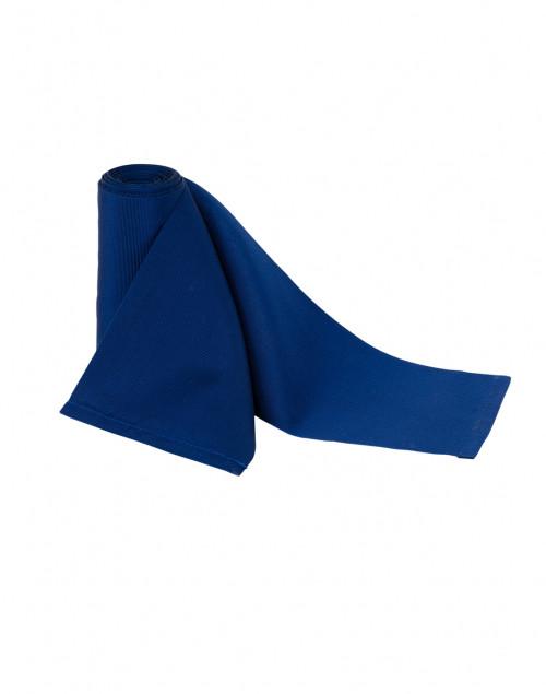 Sara Roka - Blue Wide Satin Ribbed Belt