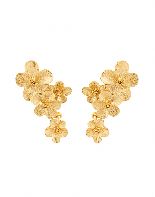 Oscar de la Renta Gold Double Flower Drop Clip Earring